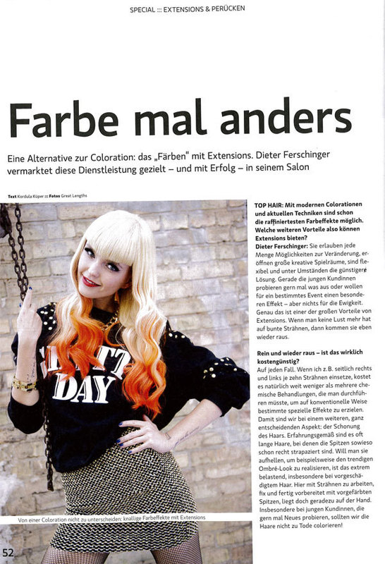 Farbe mal anders - Färben mit Extensions  (© TopHair 15-16/2014, S.22/23)