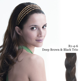 THE 4 BRAID BAND deep brown/black trio:  (© Great Lengths)