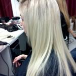 fertige Länge mit der neuen Haarverlängerung