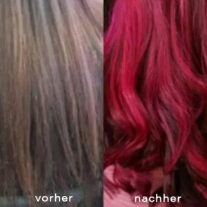 Kurzvideos von Haarverlängerungen, Vorher-Nachher Bilder