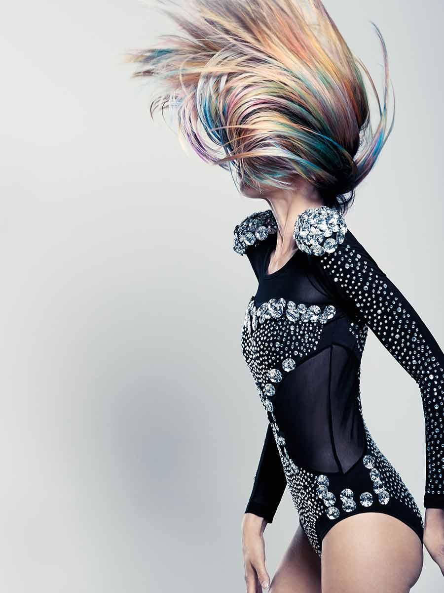 Haar mit großartigem Farbspiel